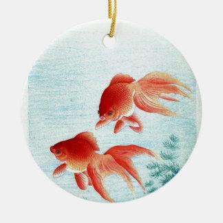 Ornement Rond En Céramique Copie japonaise vintage de poissons