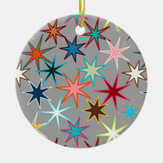 Ornement Rond En Céramique Copie moderne de Starburst, couleurs de bijou sur