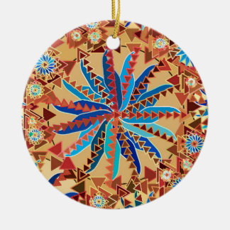 Ornement Rond En Céramique Copie tribale de mandala, chameau Tan et bleu de