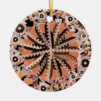 Ornement Rond En Céramique Copie tribale de mandala, Taupe Tan et beige