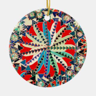 Ornement Rond En Céramique Copie tribale, rouge, bleu et crème de mandala