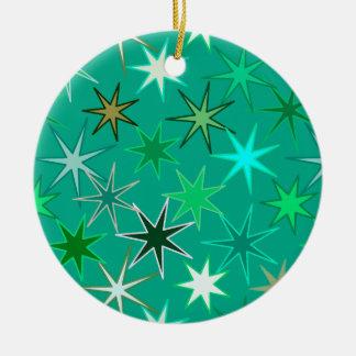Ornement Rond En Céramique Copie, turquoise et Aqua modernes de Starburst