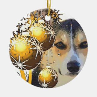 Ornement Rond En Céramique Corgi tricolore de Noël avec des ampoules