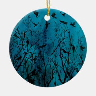 Ornement Rond En Céramique Corneilles d'aquarelle en bois la nuit
