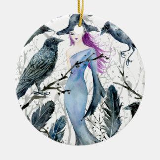 Ornement Rond En Céramique Corneilles et sorcière d'aquarelle
