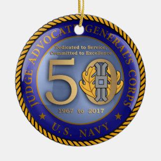 Ornement Rond En Céramique Corps cinquantième de POINTE de marine