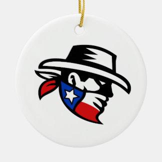 Ornement Rond En Céramique Côté de cowboy de bandit du Texas rétro