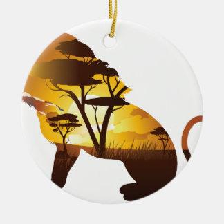 Ornement Rond En Céramique Coucher du soleil africain avec le lion