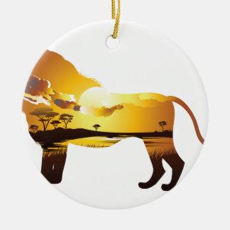 Ornement Rond En Céramique Coucher du soleil africain avec Lion2