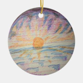 Ornement Rond En Céramique Coucher du soleil au-dessus de l'eau