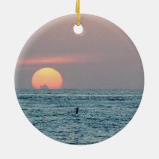 Ornement Rond En Céramique Coucher du soleil de la Floride de plage de St