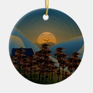 Ornement Rond En Céramique Coucher du soleil de paysage
