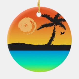 Ornement Rond En Céramique Coucher du soleil d'île