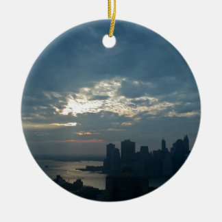 Ornement Rond En Céramique Coucher du soleil Manhattan1