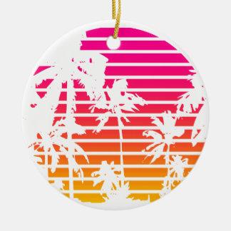 Ornement Rond En Céramique Coucher du soleil tropical