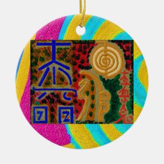 Ornement Rond En Céramique Couleur pure - symboles 2 de Reiki