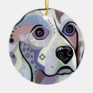Ornement Rond En Céramique Couleurs de DENIM de beagle