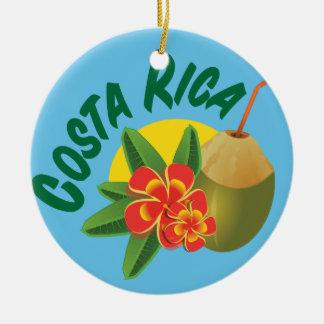 Ornement Rond En Céramique Couleurs lumineuses du Costa Rica avec les ketmies