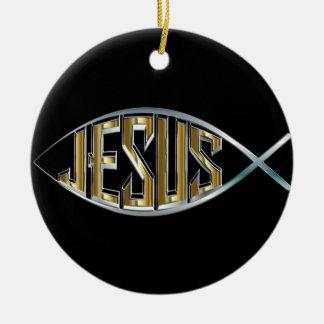 Ornement Rond En Céramique Coupe-circuit de poissons de Jésus