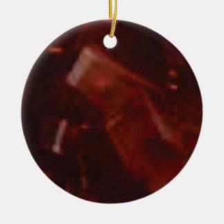 Ornement Rond En Céramique coupe rouge foncé de pierre