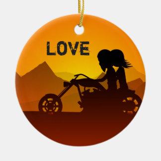 Ornement Rond En Céramique Couples personnalisés de moto à l'AMOUR de coucher