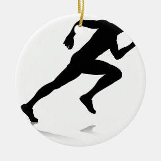 Ornement Rond En Céramique Coureur de silhouette sprintant ou fonctionnant