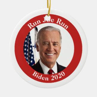 Ornement Rond En Céramique Courez Joe couru - Biden 2020 - votre texte dessus
