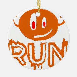 Ornement Rond En Céramique Courez | peu de monstre de Halloween