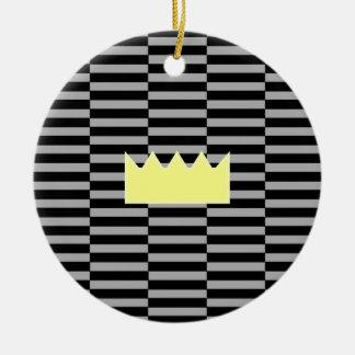 Ornement Rond En Céramique Couronne - bandes de gris et de noir