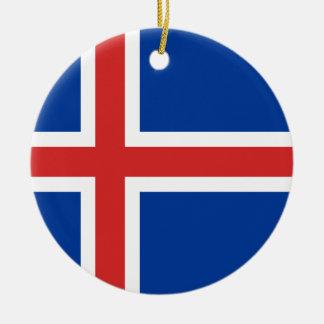 Ornement Rond En Céramique Coût bas ! Drapeau de l'Islande