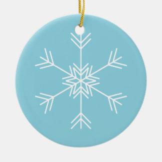 Ornement Rond En Céramique Coutume blanche bleue de vacances de Noël de