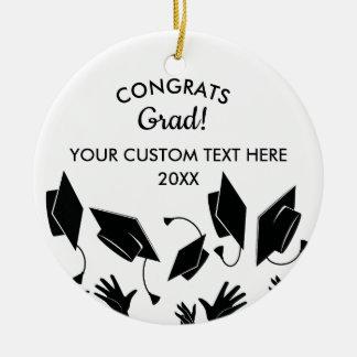 Ornement Rond En Céramique Coutume de la classe 2018 de diplômé de Congrats