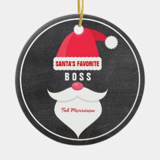 Ornement Rond En Céramique Coutume préférée du patron de Père Noël de Noël