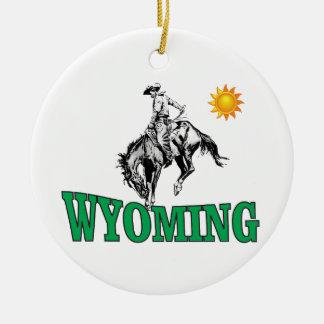 Ornement Rond En Céramique Cowboy du Wyoming
