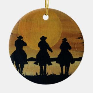 Ornement Rond En Céramique cowboys et chevaux