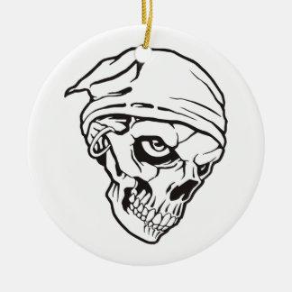 Ornement Rond En Céramique Cr�ne de pirate pour Halloween -