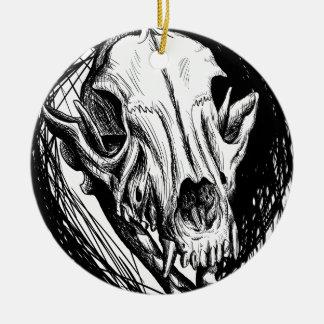 Ornement Rond En Céramique Crâne animal