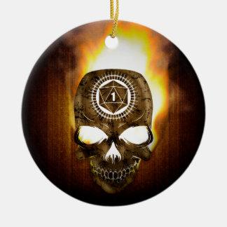 Ornement Rond En Céramique crâne critique de la mort de l'échouer d20