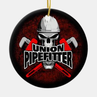 Ornement Rond En Céramique Crâne de Pipefitter des syndicats
