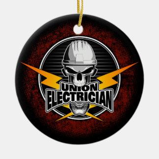 Ornement Rond En Céramique Crâne d'électricien des syndicats