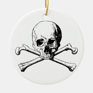 Ornement Rond En Céramique Crâne d'os croisés