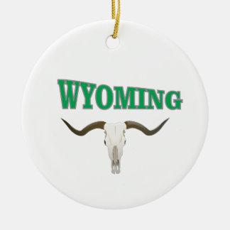 Ornement Rond En Céramique Crâne du Wyoming