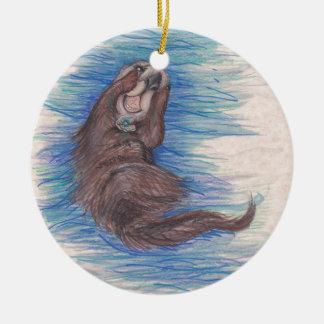 Ornement Rond En Céramique Créature d'animal sauvage de loutre de mer petite