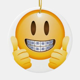Ornement Rond En Céramique Croisillons Geeky Emoji