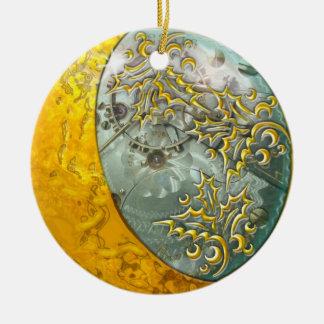 Ornement Rond En Céramique Croissant de lune et Steampunk d'or doubles faces
