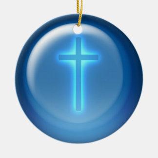 Ornement Rond En Céramique Croix - chrétien