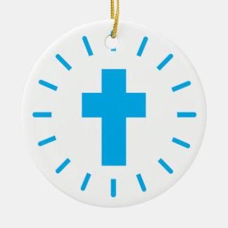 Ornement Rond En Céramique Croix de Jésus-Christ