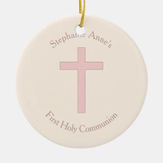 Ornement Rond En Céramique Croix de rose en pastel de communion