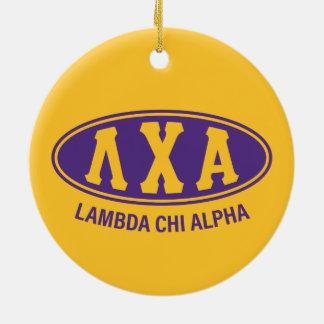 Ornement Rond En Céramique Cru de l'alpha | de Chi de lambda