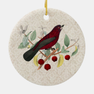 Ornement Rond En Céramique cru rouge d'oiseau d'automne